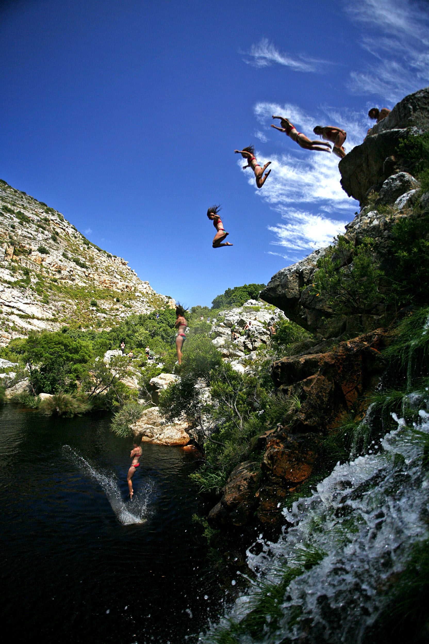 Kloofing with Abseil Africa, Kamakazi Canyon near Cape Tonw in South Africa.