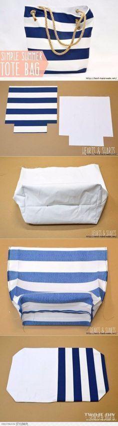 DIY-Taschen für den Sommer - DIY-Stoffkorb - Einfache Ideen für Strand und Pool ... #teenagegirlclothes