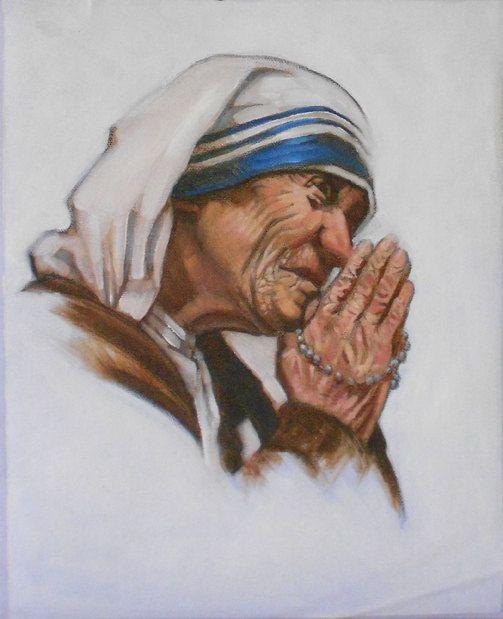 Vintage Saint MOTHER TERESA Portrait, Original Oil PAINTING