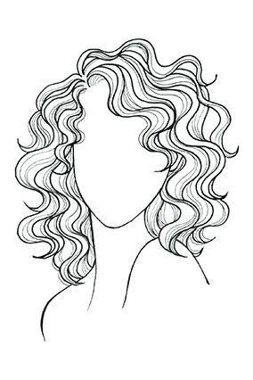 Short Curly Hair Drawing : short, curly, drawing