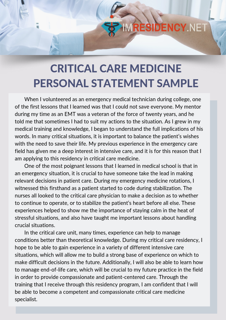 Critical Care Medicine Personal Statement Sample Example Essay Introduction Cardiac Physiology