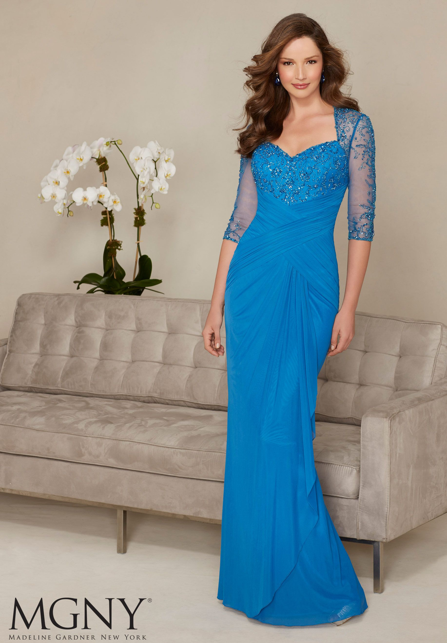 Beading on Stretch Mesh Evening Gown/Mother of the Bride Dress ...