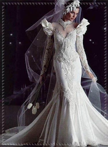personalizzate vivido e di grande stile colori armoniosi abito da sposa a sirena anni '80 | Abiti da sposa, Abiti di ...