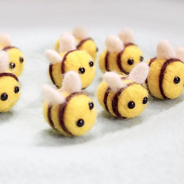 Needle Bee- Needle Felting - Handmade Needle Felted Bee- Wool Felt Great Gift | Wish