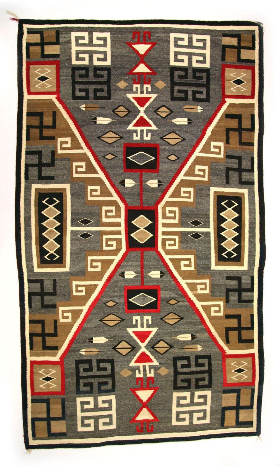 Navajo Crystal Storm Pattern Rug With Whirling Log Symbols C 1910