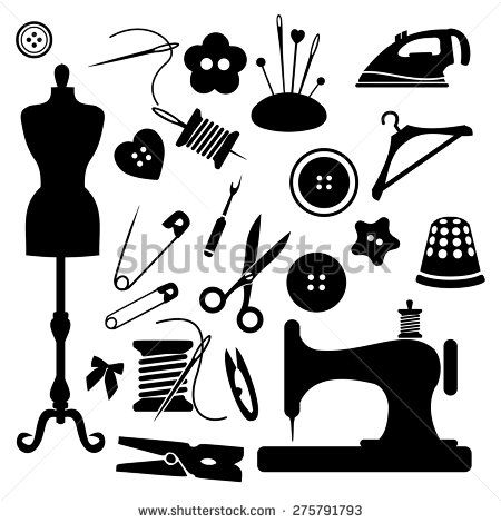 Sewing Icon Set Vector Tools Designer Fashion Vector Tailoring Tailor Icon Black Leather Clothin Sewing Logo Sewing Machine Embroidery Sewing Clipart