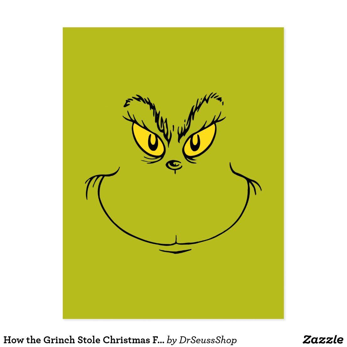 How The Grinch Stole Christmas Face Postcard Zazzle Com Grinch Stole Christmas Watercolor Christmas Cards Diy Christmas Cards