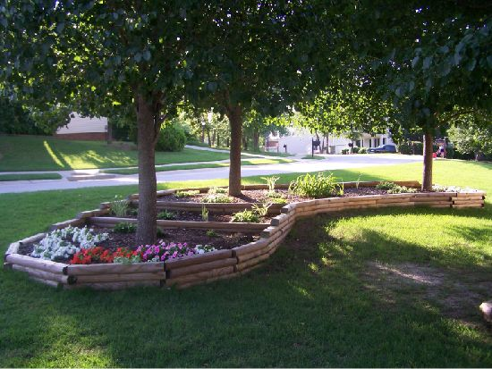 12 Amazing Ideas For Flower Beds Around Trees Landscape Timbers