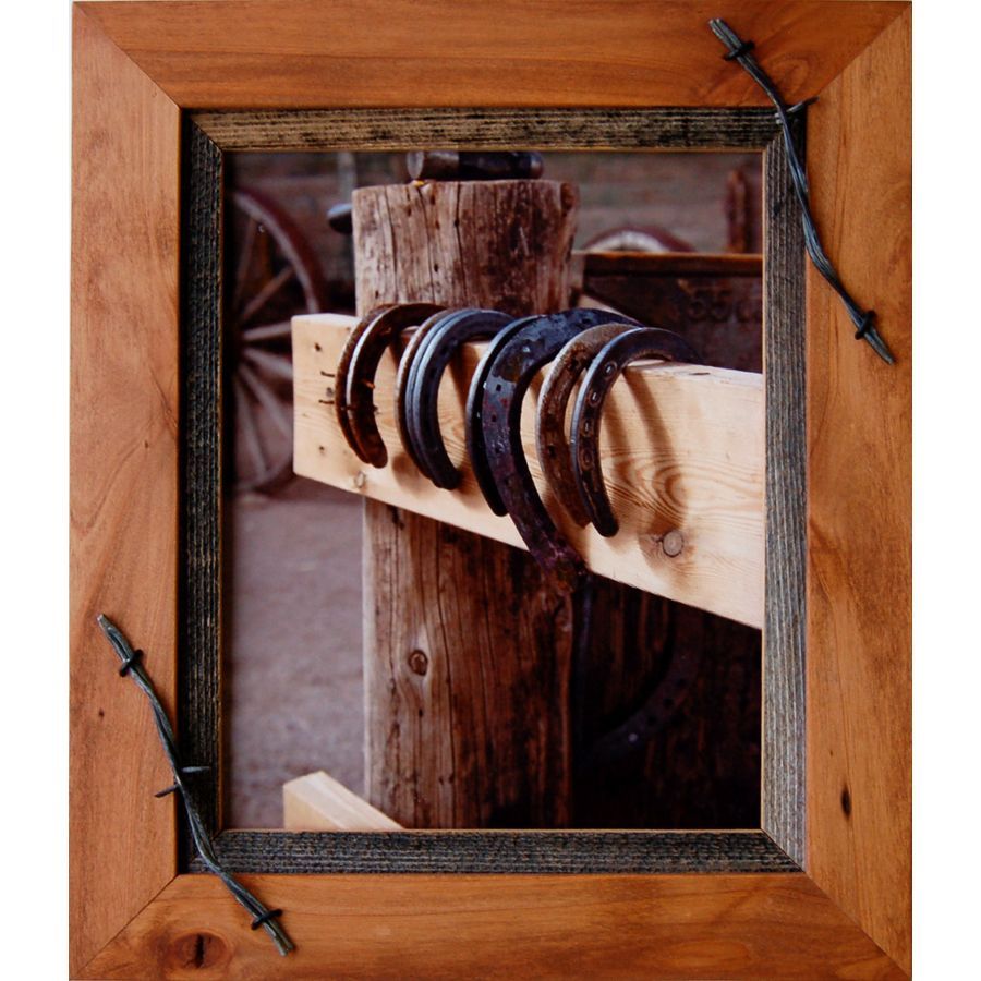 western frames 20x24 wood frame with barbed wire sagebrush rustic cross