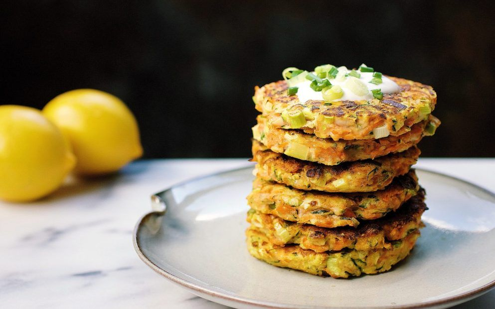 Zucchini Carrot Fritters with Paleo Sour Cream
