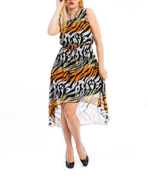 Look at this #zulilyfind! Orange & Gray Jungle Hi-Low Dress - Plus by Ami Sanzuri #zulilyfinds