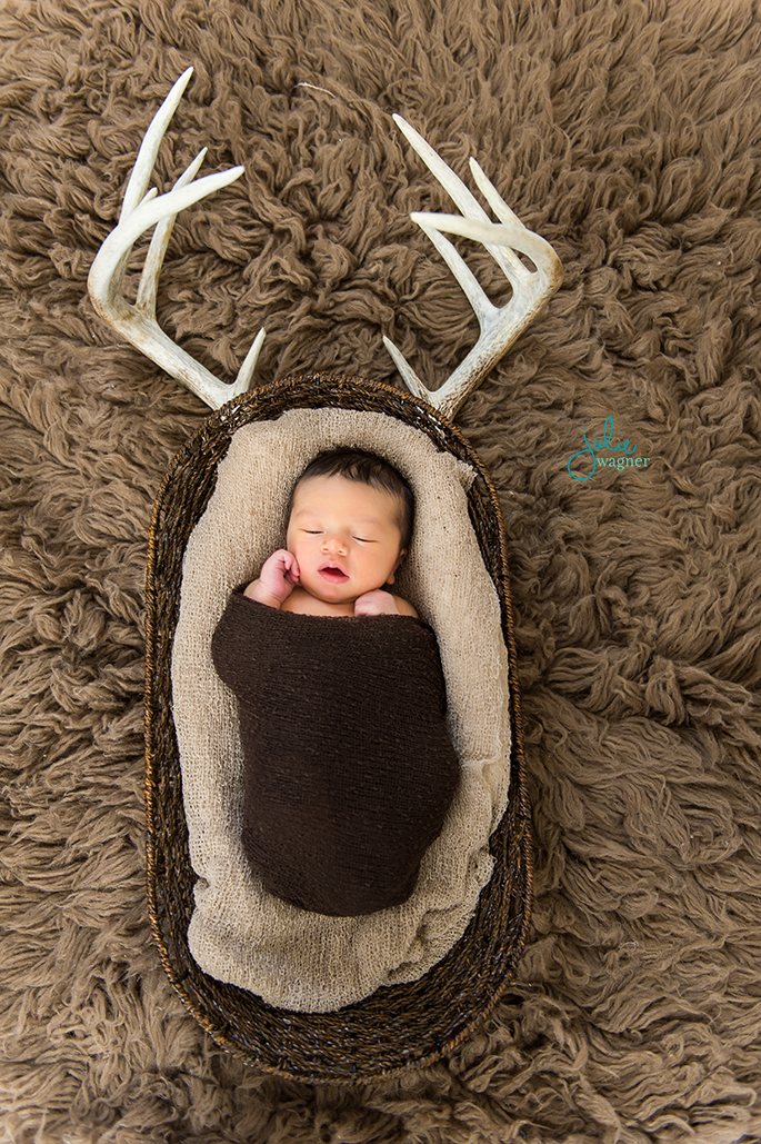 Newborn Photography Deer Antlers Hunter Newborn