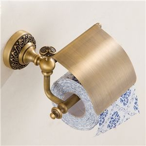 Papierhalter Antik Messing WC Rollenpapierhalter mit Abdeckung Papier