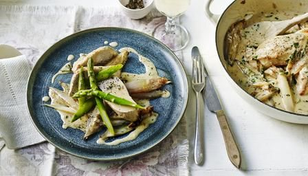 Chicken with asparagus and lemon crme frache sauce recipe bbc food recipes chicken with asparagus and lemon crme frache sauce forumfinder