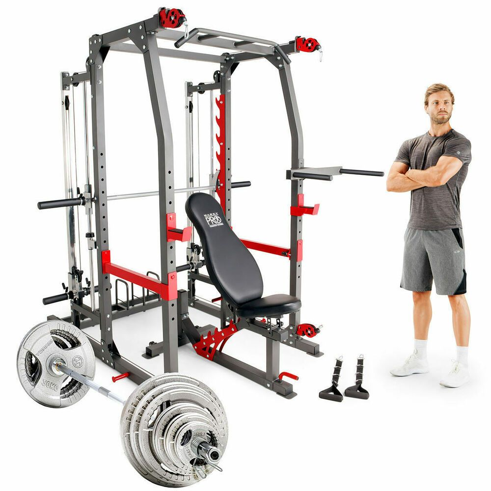 Details about olympic weight set multi gym machine combo
