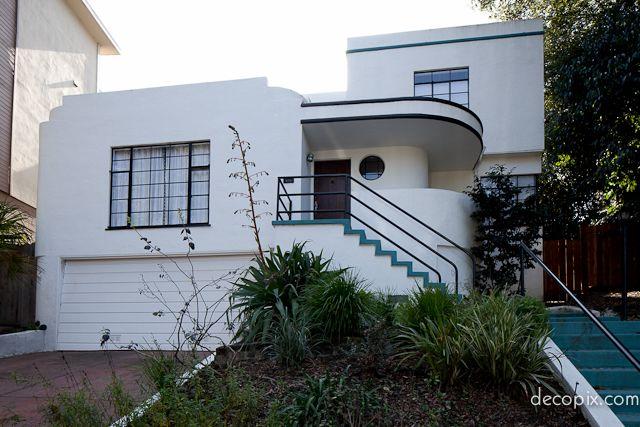Streamline moderne house california. art deco buildings art