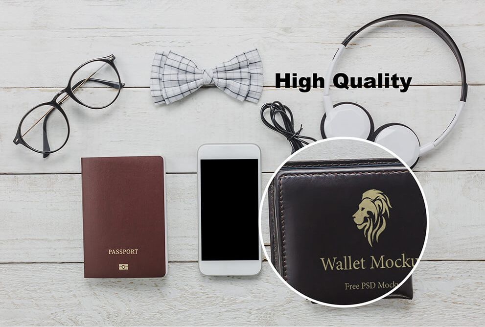 Download Wallet On Table Free Psd Mockup Mockup Free Psd Psd Designs Free Psd