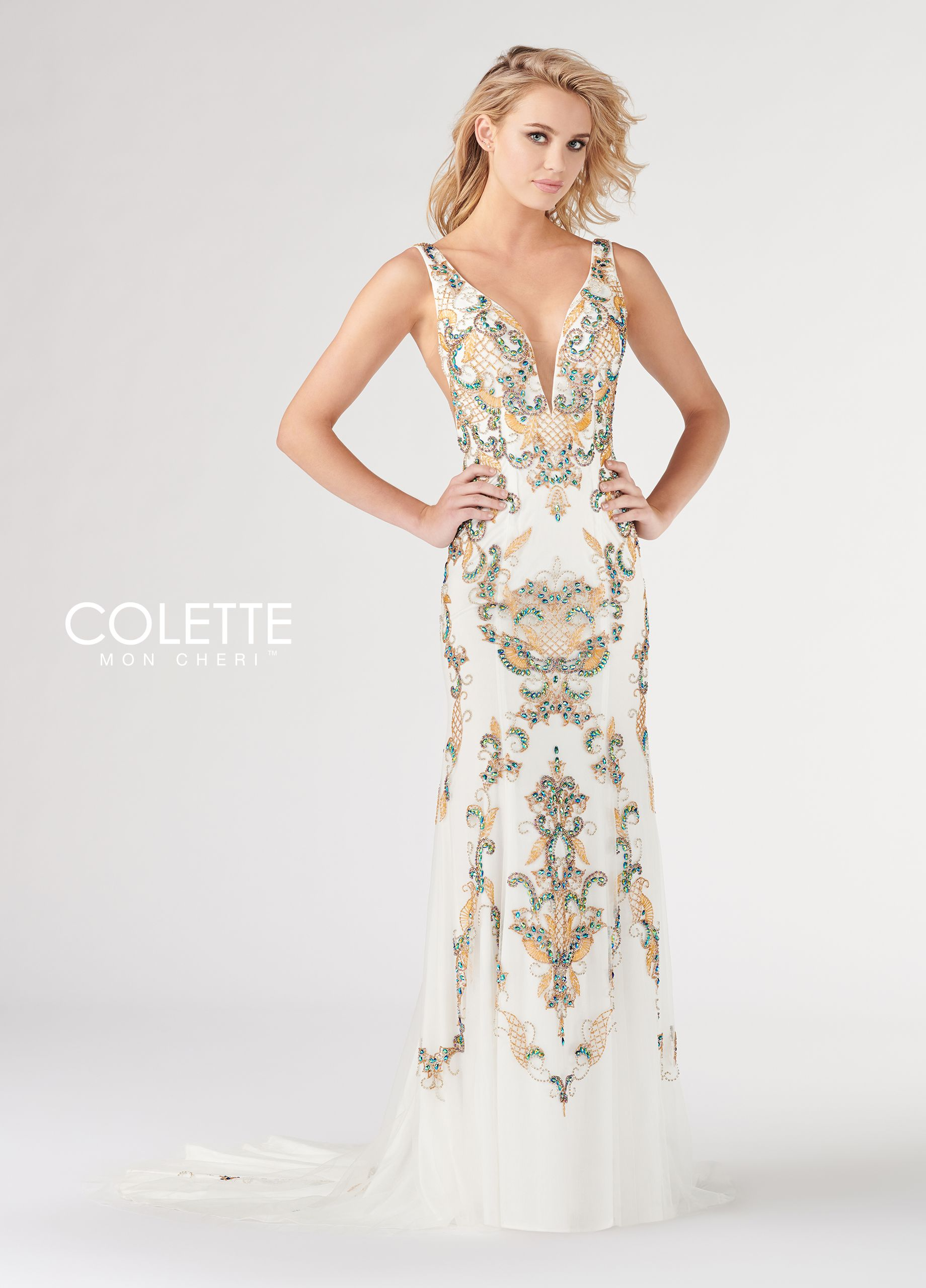 62ad916fdeb1 Colette for Mon Cheri CL19813 - Sleeveless beaded tulle fit and flare gown  with a rounded deep illusion V-neck
