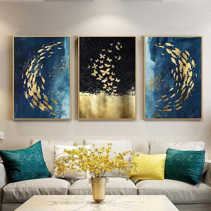 Goldener Fisch-Schmetterlings-Wand-Kunst-Zusammenfassungs-Segeltuch-Anstrich ,  #anstrich #fisch #goldener #kunst #schmetterlings #segeltuch #zusammenfassungs