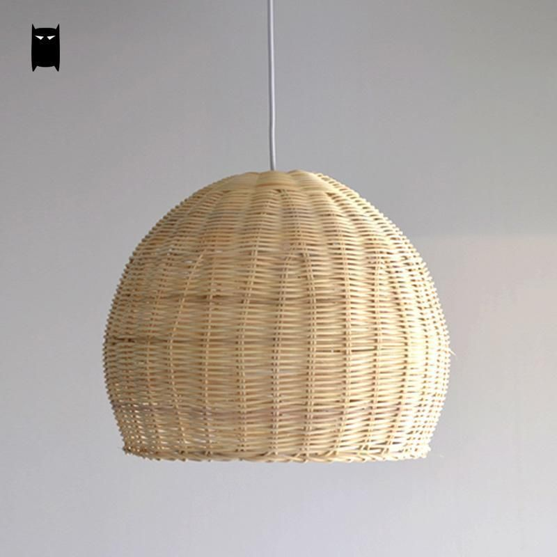 Hand Woven Wicker Rattan Round Basket Shade Pendant Light Fixture Asian Lamp Soleilchat