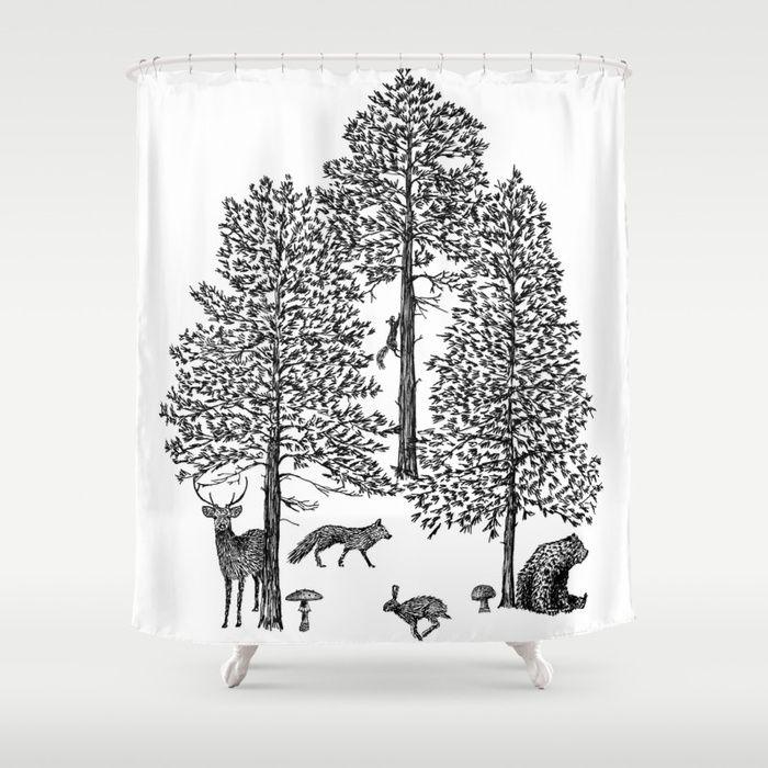 Vintage Woodland Animals Shower Curtain Animal Shower Curtain