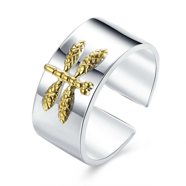 Самые Модные и Необычные Открытие Серебра Кольца С Золотой Стрекоза Reglable Bijoux Bague Женщины Мужчины Свадьба Ювелирные Изделия Брелок