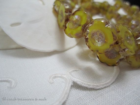 SALE 10% off, use coupon code: PIN10 EXTRA 10% off! Gorgeous yellow Czech #glass flower beads can be the focal for any piece of jewelry or project you make or add several with accenting beads, you'll have a Czech piece of art... #supplies #bead
