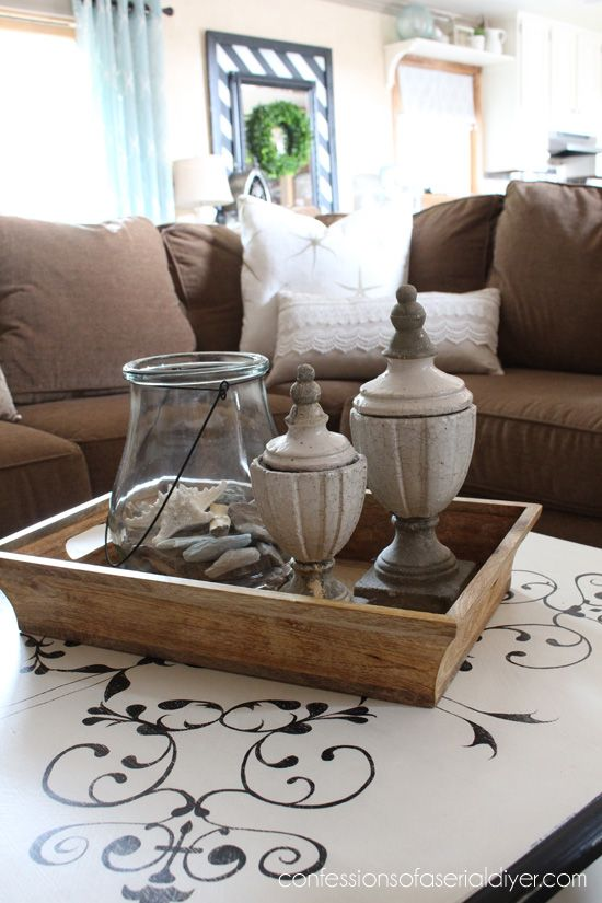 Coffee Table Tray Decor Thrift Store Coffee Table Makeover  Diy  Home Decor  Pinterest