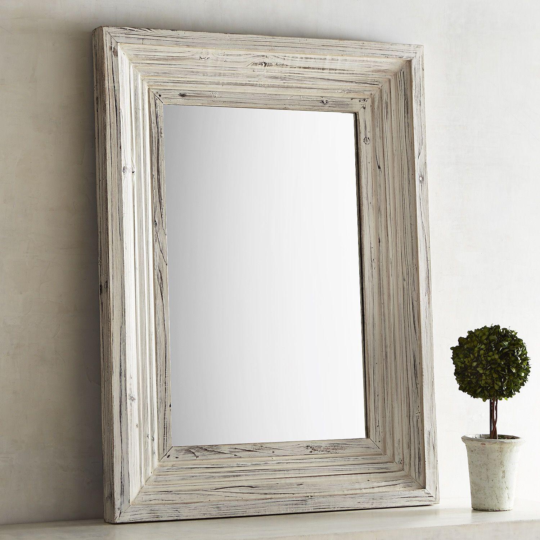 Gretta Farmhouse 30x40 Wood Framed Mirror White Wash Rustic Farmhouse Decor Wood Framed Mirror Rustic Farmhouse Living Room