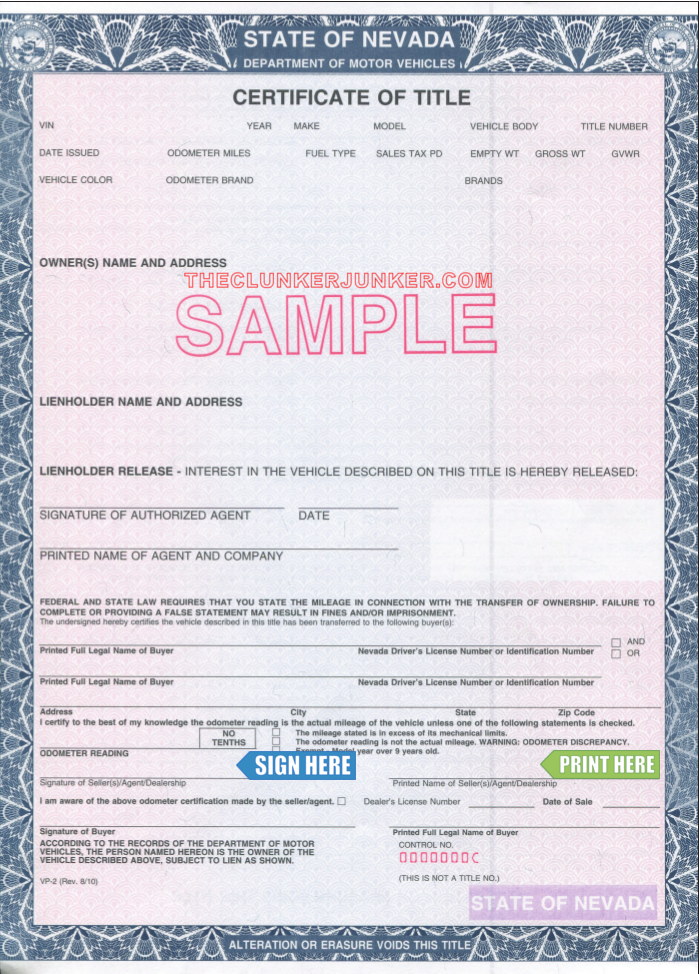 Cash For Your Car In Nevada Free Same Day Pickup Birth Certificate Template Car Title Money Template