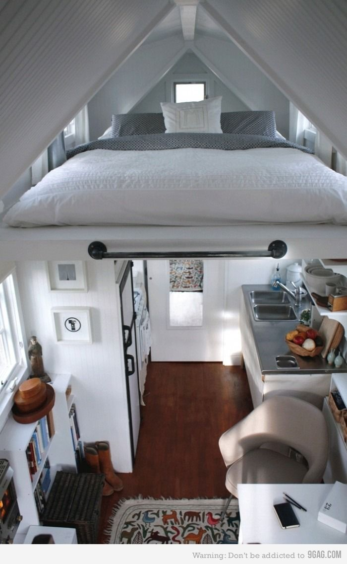 Loft above bedroom  Tiny Little House  Coolness  Pinterest  Hidden bed Lofts and House