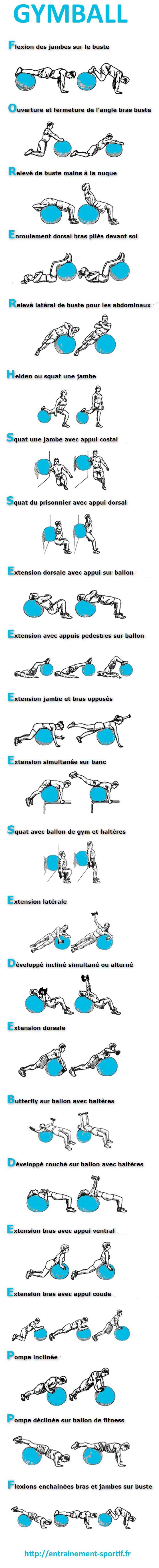 Extrêmement 23 exercices de #musculation avec ballon de gym http  FO43
