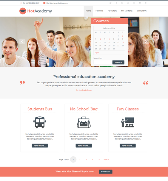 This education WordPress theme includes a flat design, 4 preset color schemes, a responsive layout, carousel, map, and gallery plugins, SEO-friendly code, 16 widget positions, RTL language support, cross-browser compatibility, and more.