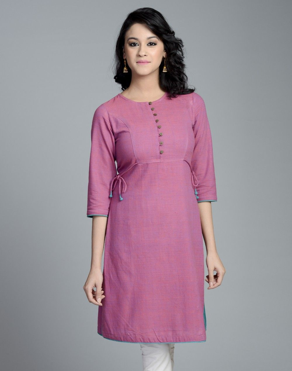 76288d67897 Cotton Khadi Round Neck Side Tie Up Long Kurta | kurtis | Fashion ...