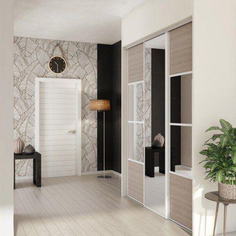 Porte De Placard Coulissante Magnolia Miroir SPACEO L X H - Porte placard coulissante et prix porte standard