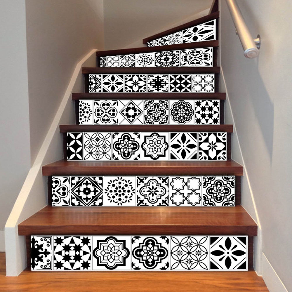 Mosaic Tile Wall Stair Stickers Peel And Stick Tile Backsplash Stair Riser Decals Diy Waterproof Home Dec Stair Stickers Stick Tile Backsplash Staircase Decals