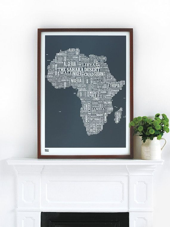 Africa africa type map screen print africa map wall poster africa africa type map decorative screen print by boldandnoble on etsy 4500 gumiabroncs Images
