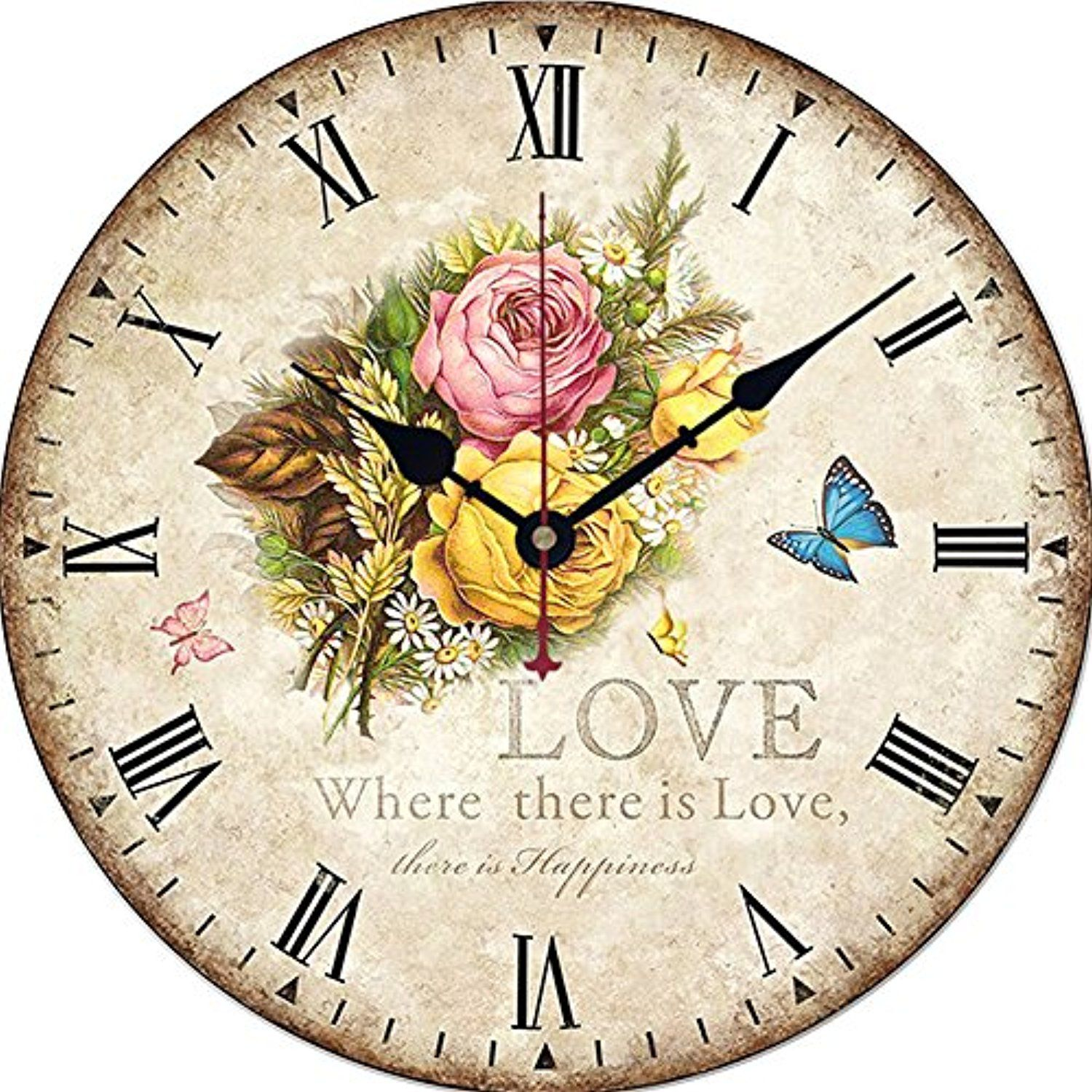 wood wall clock yesee vintage silent wooden clock non on wall clocks battery operated id=19674
