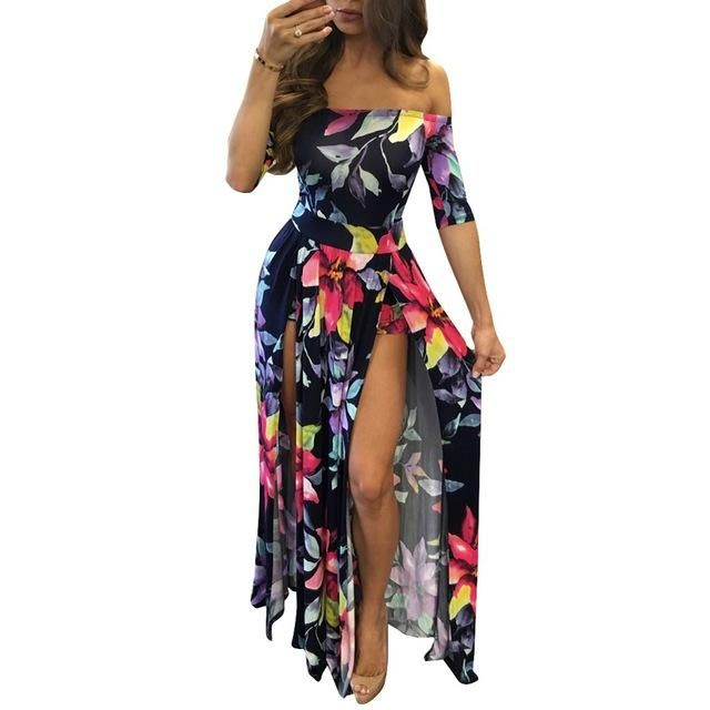 f83ef4deaef2 2017 Summer Beach Women Rompers and Jumpsuits Burgundy Flower Print Short  Sleeve Off The Shoulder High Low Romper plus size 5XL
