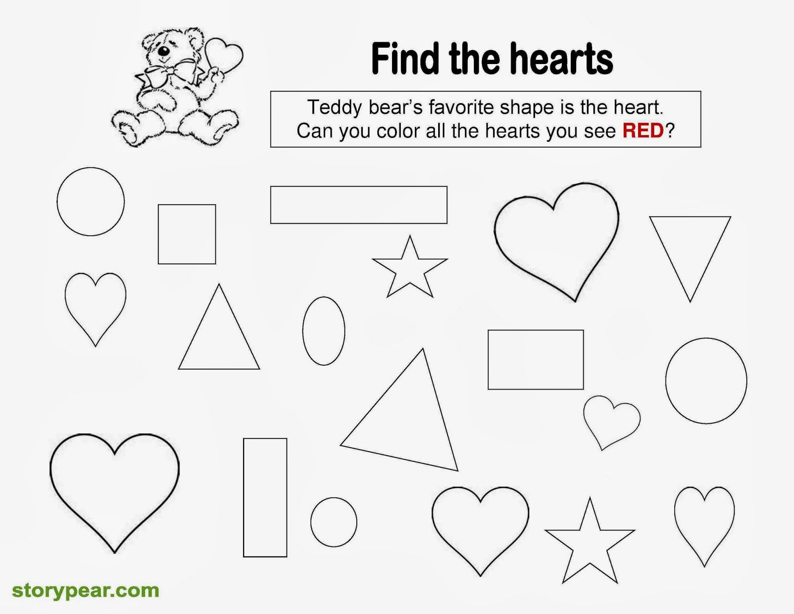 Story Pear: Free Valentine Day\'s Printable Sheets for Preschoolers ...