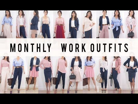 Monthly Work Outfit Options | Style Mix + Match Ideas | ANN LE - YouTube