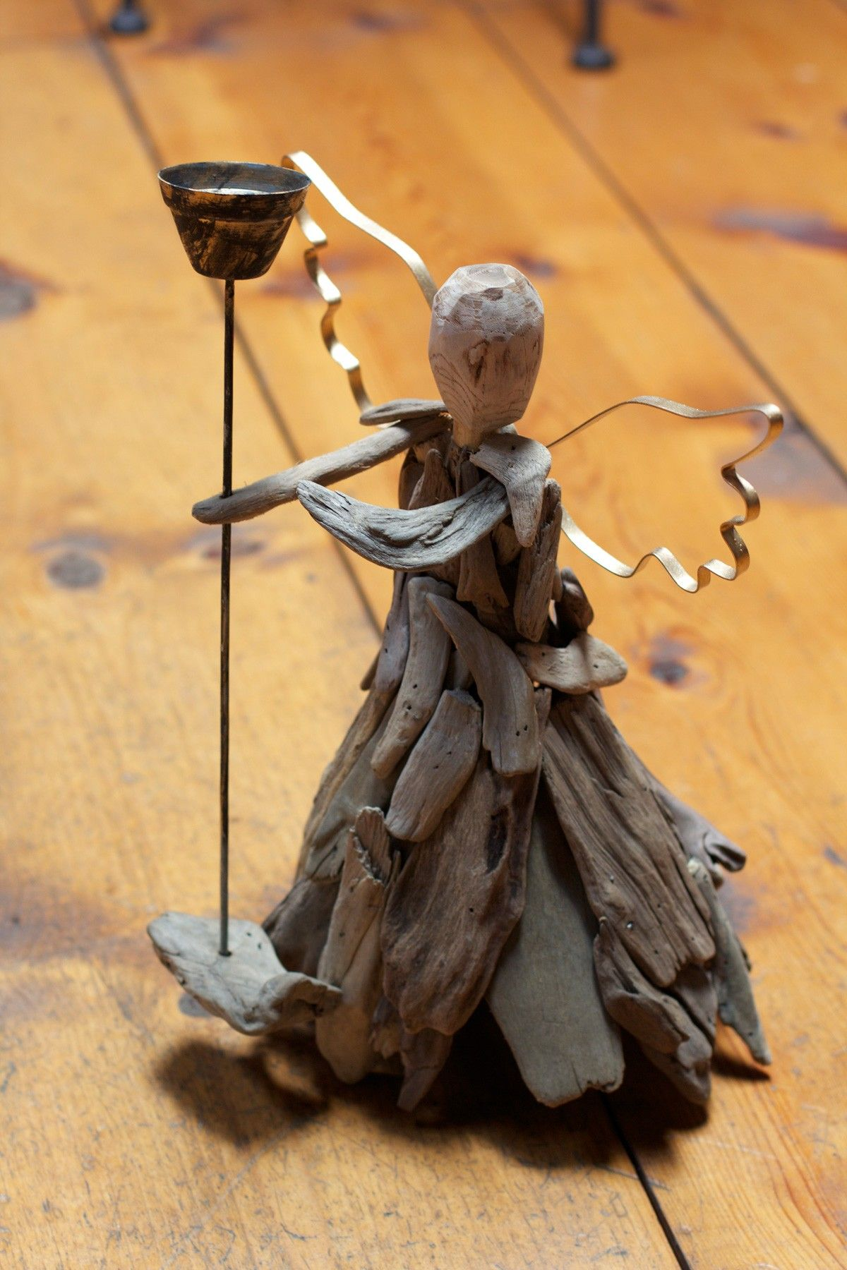 Industrial Home and Holiday Decor Driftwood Angel with Wire Wings ...