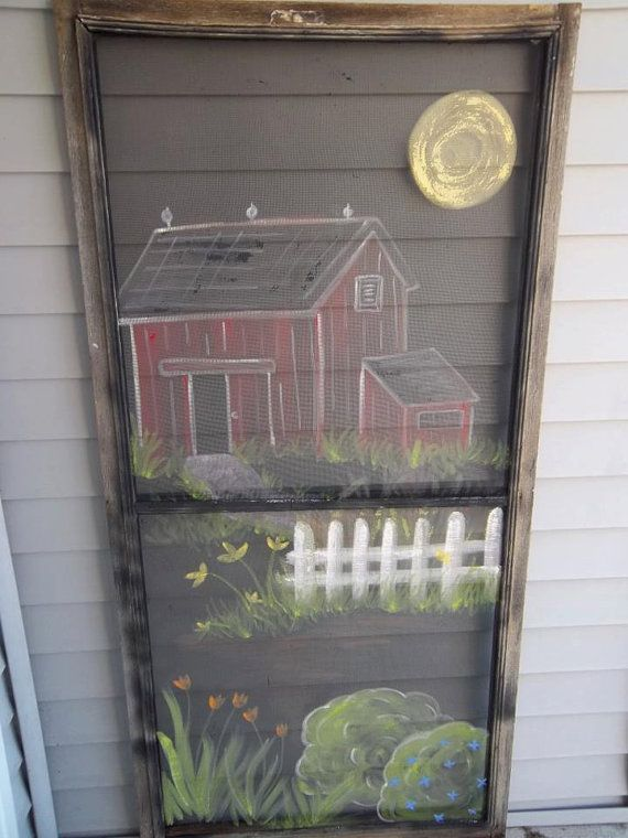 Barn Farm Flowers I Painted On Vintage Screen By