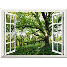 Uq Poster Mural En Vinyle Papier Peint Auto Adhesif 61x81cm Trompe L Oeil Fenetre Removable Grand Arbre Pr Trompe L Oeil Fenetre Poster Mural Vue De La Fenetre
