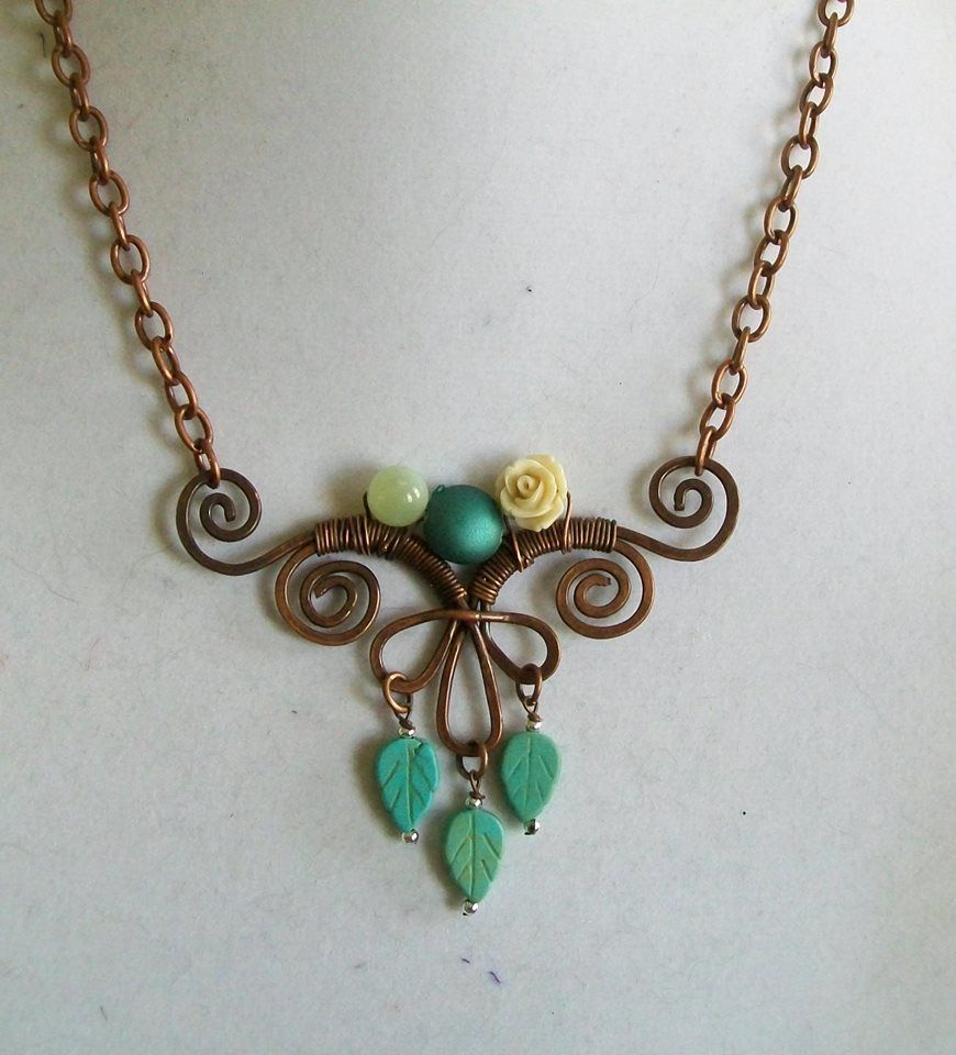 Hammered & oxidized copper wire design with leaves and rose ...