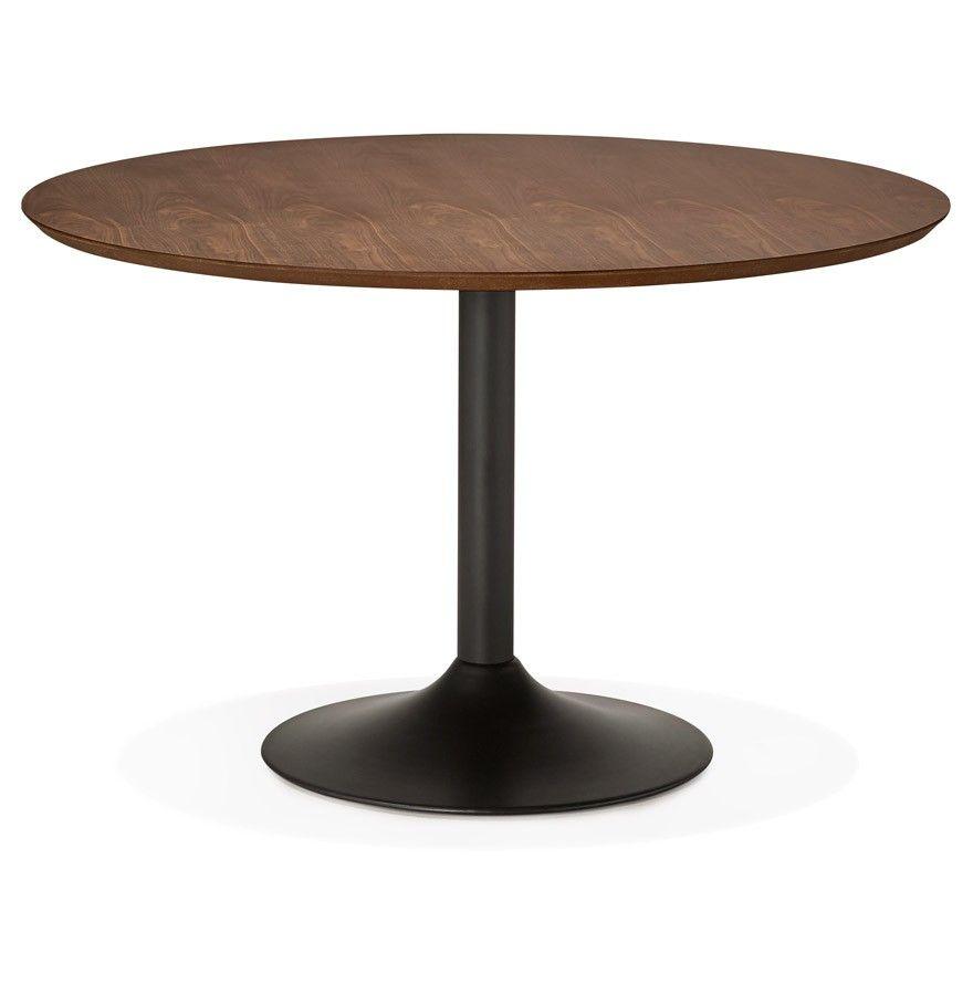 Table diner de bureau ronde 39 chef 39 en bois finition noyer 120 cm table design - Table cuisine bois ...