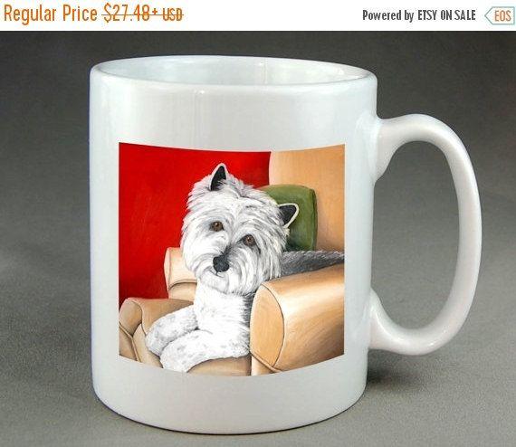 Westie Dog Mug Coffee Tea Cocoa Ceramic cup of by RMBArtStudio