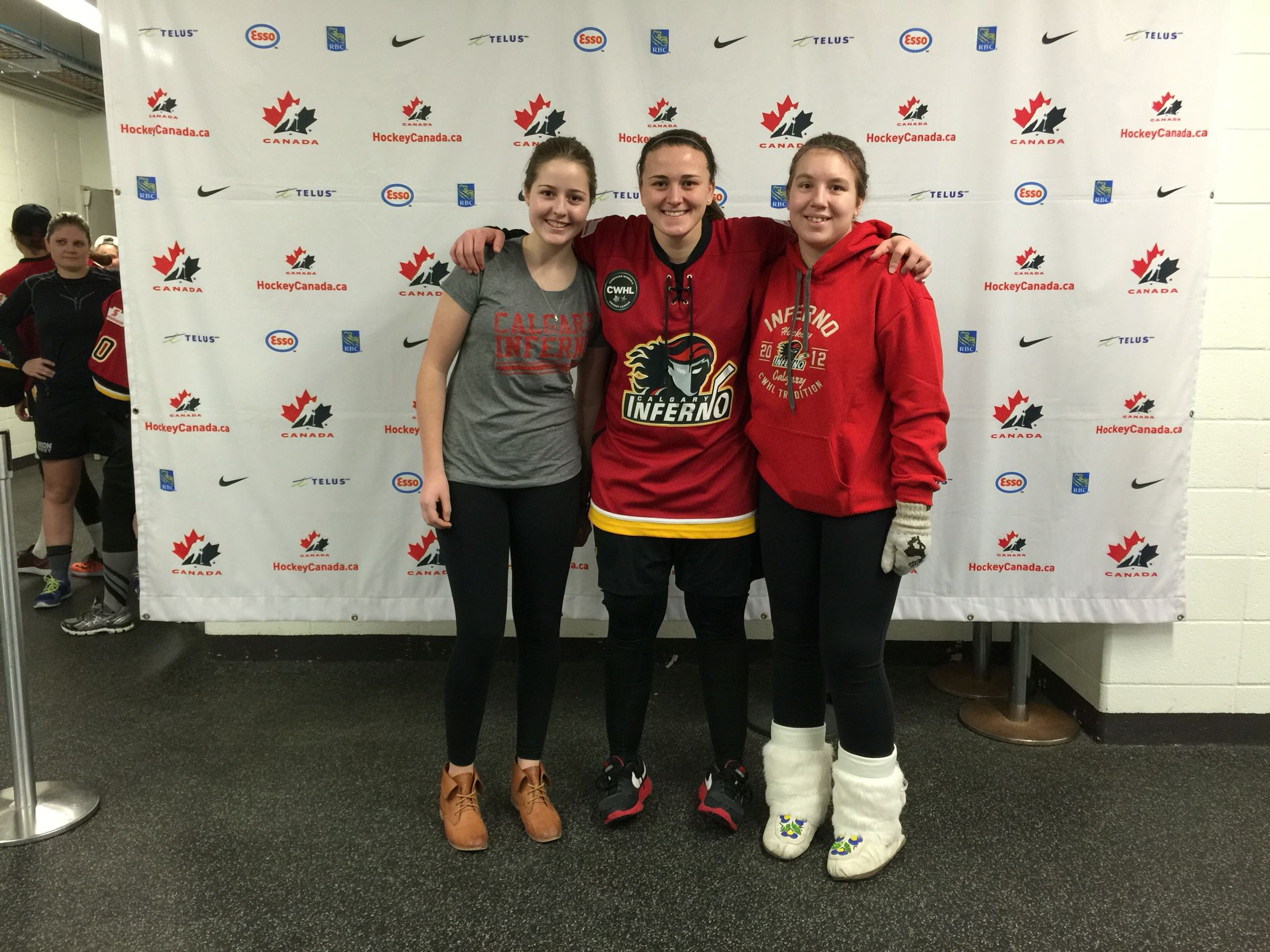 Delayne Brian, goalie for the Calgary Inferno. Very good goalie!  Super nice to Emily and Catriona!
