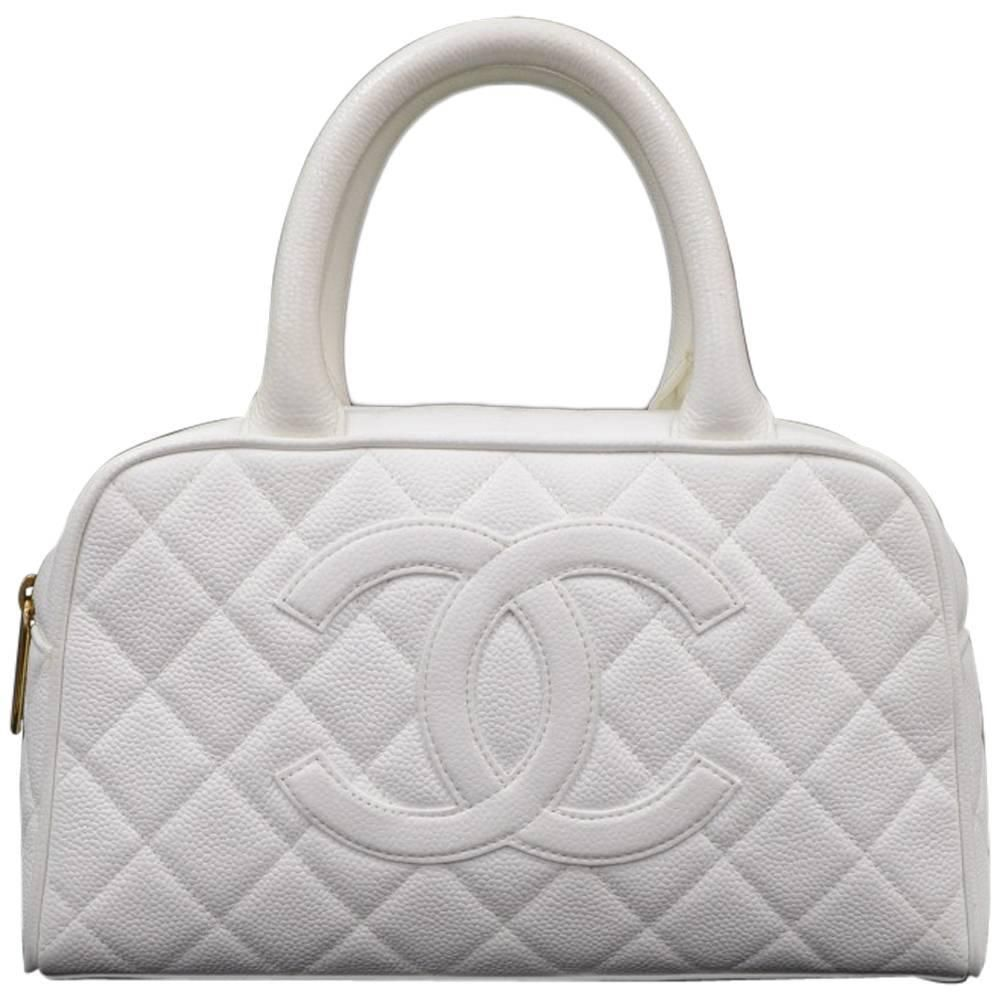 4fc9228e7fcbc2 Chanel Mini Boston White Quilted Caviar Leather Hand Bag | Chanel ...