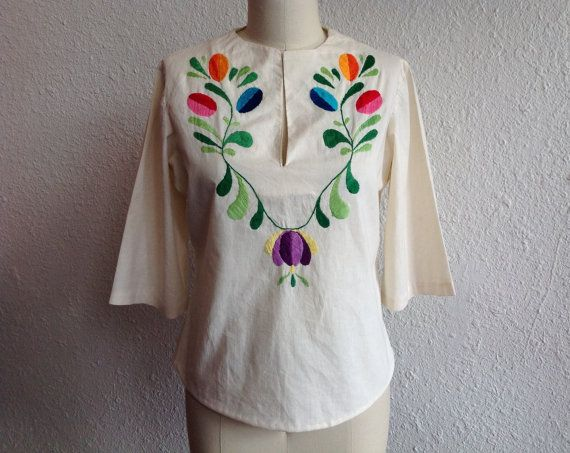 1960s Mexican embroidered shirt by VelvetGoldmineShop on Etsy